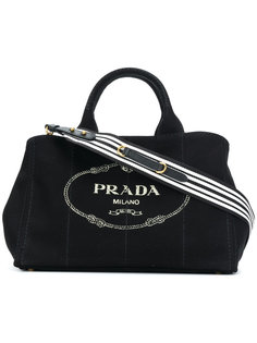 structured logo tote Prada