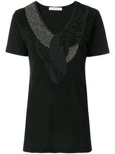 кружевная футболка с V-образным вырезом  Pierre Balmain