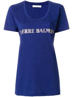футболка с вырезом-ковш и логотипом  Pierre Balmain