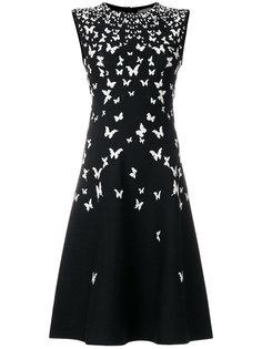 трикотажное платье с принтом бабочек  Bottega Veneta