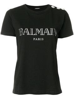 футболка на пуговицах с логотипом  Balmain