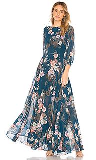 Макси платье с цветочным принтом woodstock - Yumi Kim