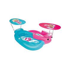 Надувной шезлонг 2-местный для отдыха на воде с навесами от солнца, Barbie, Bestway