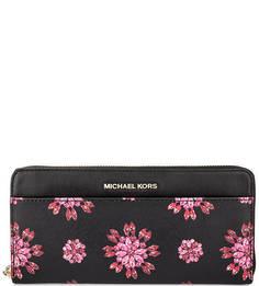 Черный кошелек с ярким принтом Michael Michael Kors