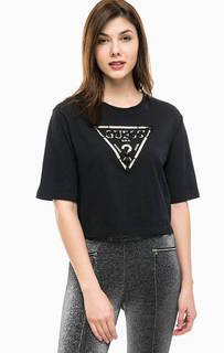Хлопковая футболка с отделкой бисером Guess