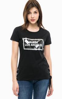 Черная хлопковая футболка с нашивкой Guess