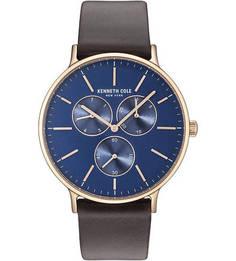 Кварцевые часы с широким кожаным ремешком Kenneth Cole