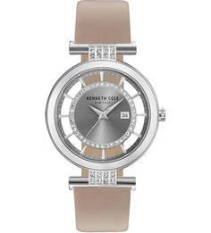 Кварцевые часы с бежевым кожаным ремешком Kenneth Cole