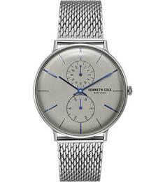 Кварцевые часы с круглым корпусом серебристого цвета Kenneth Cole