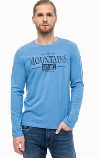 Синяя хлопковая футболка с принтом Tom Tailor