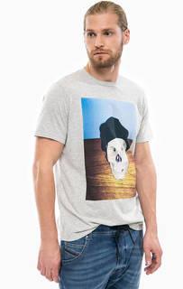 Серая футболка с контрастным принтом Diesel