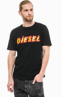 Футболка из хлопка с принтом Diesel
