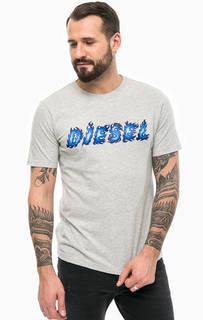 Серая хлопковая футболка с нашивками Diesel