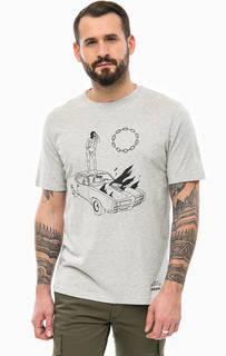 Серая хлопковая футболка с принтом Diesel