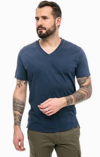 Синяя футболка с треугольным вырезом Diesel