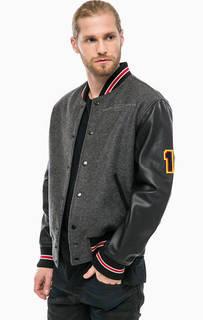 Куртка бомбер с кожаными рукавами Diesel