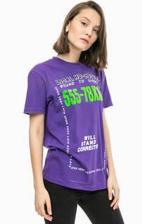 Фиолетовая футболка с принтом Diesel
