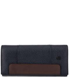 Синий кожаный кошелек с контрастной вставкой Piquadro
