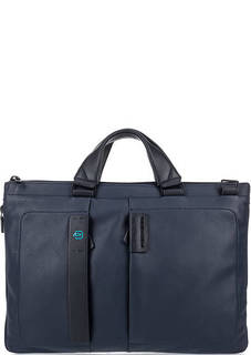 Синяя кожаная сумка на молнии Piquadro