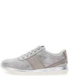 Серебристые кроссовки на шнуровке Geox