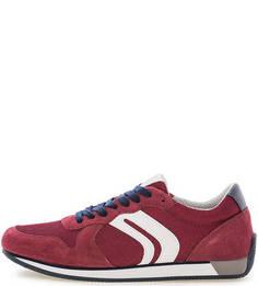 Бордовые кроссовки из текстиля и замши Geox