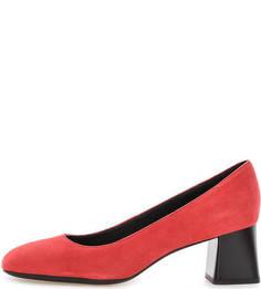 Красные замшевые туфли на каблуке Geox