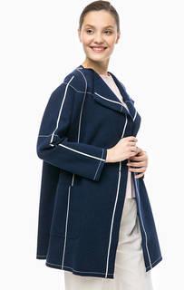 Синее пальто в клетку из вискозы Stefanel