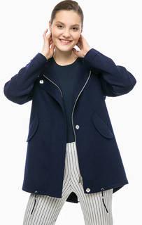 Синее пальто с капюшоном Stefanel