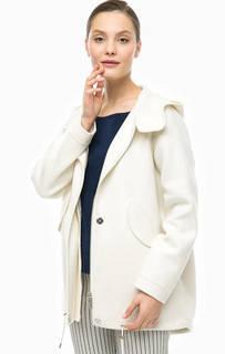 Молочное пальто с капюшоном Stefanel