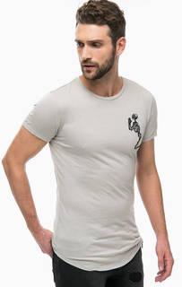 Серая хлопковая футболка с вышивкой Religion