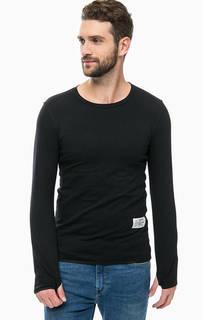 Черная хлопковая футболка с длинными рукавами Religion