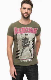 Хлопковая футболка цвета хаки с принтом Religion