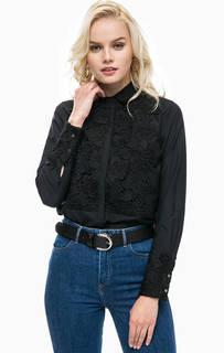 Черная рубашка с кружевными нашивками Scotch&Soda