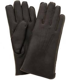 Коричневые перчатки из нубука с меховой подкладкой Bartoc