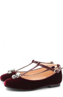 Текстильные туфли с кожаным ремешком и кристаллами Il Gufo