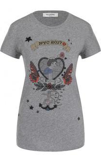 Хлопковая футболка с принтом и вышивкой Valentino