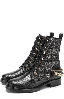 Текстильные ботинки с отделкой из кожи питона Lanvin