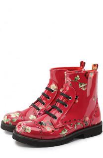 Лаковые ботинки с принтом Dolce & Gabbana