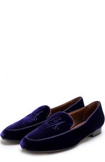 Бархатные лоферы с вышивкой Giorgio Armani