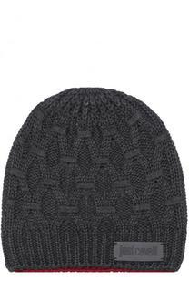 Шерстяная шапка фактурной вязки Just Cavalli