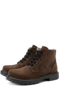 Кожаные ботинки со шнуровкой и молнией Lanvin