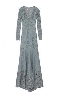Приталенное кружевное платье-макси с подолом Zuhair Murad