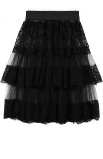 Многоярусная прозрачная юбка-мини с эластичным поясом Dolce & Gabbana