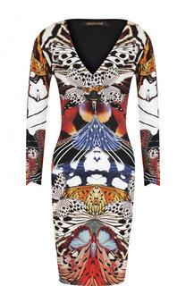 Платье-футляр с укороченным рукавом и принтом Roberto Cavalli