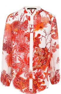 Шелковая блуза с воротником-стойкой и принтом Roberto Cavalli