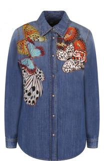 Джинсовая блуза с потертостями и отделкой в виде бабочек Roberto Cavalli