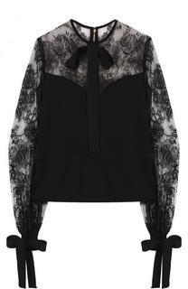 Приталенная блуза с бантами и кружевными вставками Elie Saab