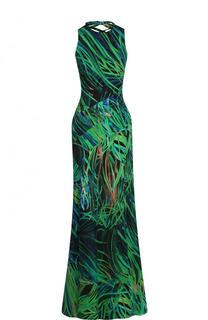 Приталенное платье-макси со шнуровкой и принтом Elie Saab
