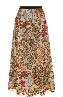 Юбка-миди с контрастным поясом и контрастной вышивкой REDVALENTINO