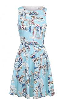 Приталенное хлопковое мини-платье с принтом Blugirl